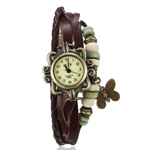 Outfit Artificial Leather Braid Butterfly Bracelet Watch BROWN