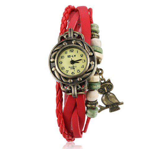 Latest Artificial Leather Braid Owl Bracelet Watch RED