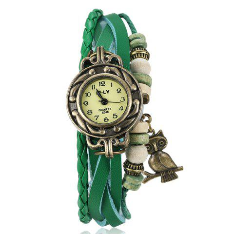 Hot Artificial Leather Braid Owl Bracelet Watch GREEN