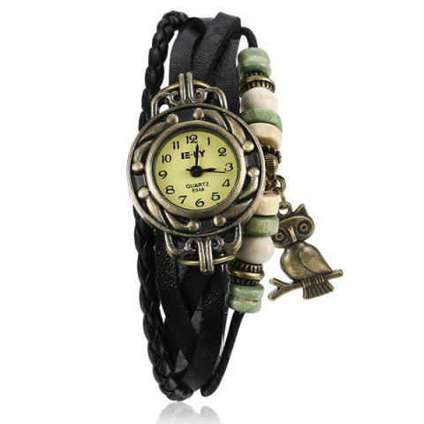 Cheap Artificial Leather Braid Owl Bracelet Watch BLACK
