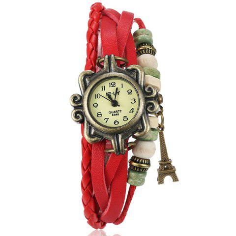 Trendy Artificial Leather Braid Eiffel Tower Bracelet Watch
