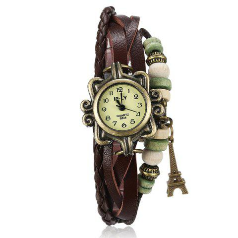 Outfit Artificial Leather Braid Eiffel Tower Bracelet Watch BROWN
