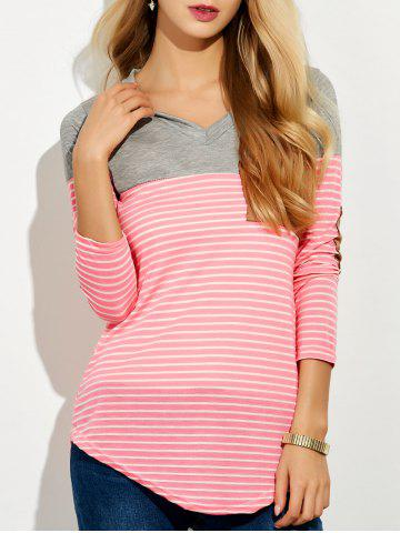 Shop V Neck Striped Elbow Patched Pocket T-Shirt PINK L