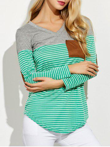 V Neck Striped Elbow Patched Pocket T-Shirt - Green - M