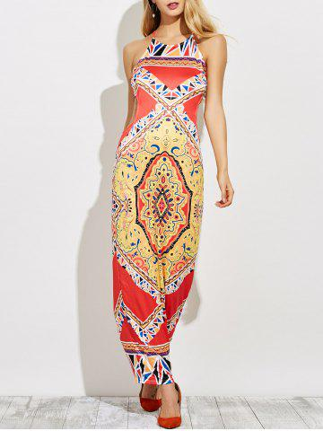 Hot Backless Cut Out Print Maxi Dress