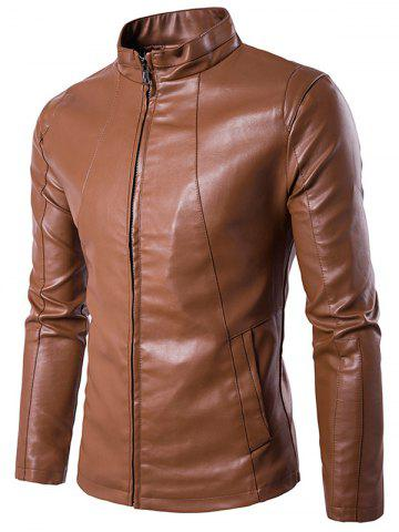 Stand Collar Zipper Design PU Leather Jacket - Brown - M