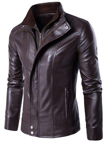 Buy Faux Twinset Stand Collar Double Zipper PU Leather Jacket BROWN 2XL