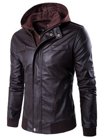 Unique Faux Twinset Double Zip Up PU Leather Jacket