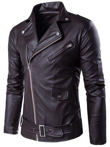 Online Turndown Collar Belt PU Leather Jacket