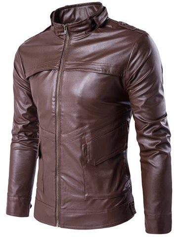 Latest Stand Collar Zip Up Pockets Design PU Leather Jacket BROWN 2XL