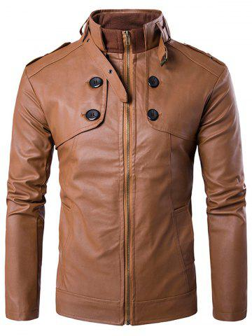 Affordable Stand Collar Zip Up Buttons Design PU Leather Jacket BROWN 2XL