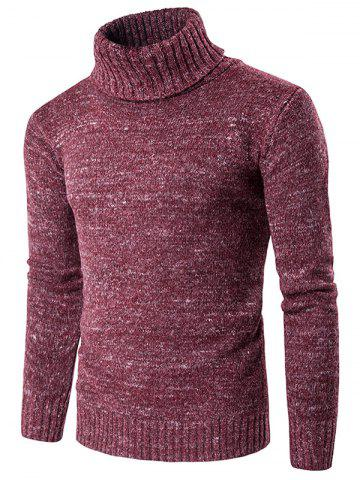 Hot Roll Neck Knit Blends Long Sleeve Sweater WINE RED 2XL