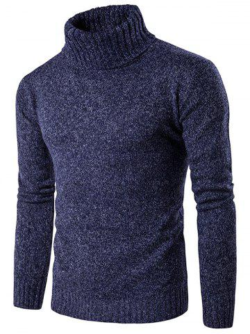 Roll Neck Knit Blends Long Sleeve Sweater - Cadetblue - M