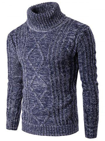 Store Roll Neck Knit Blends Kink Design Long Sleeve Sweater BLUE 2XL