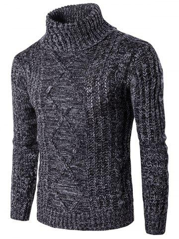 Roll Neck Knit Blends Kink Design Ribbed Sweater - Black - L