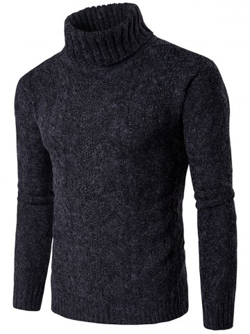 Roll Neck Knit Blends Verical Kink Design Sweater - Black - S
