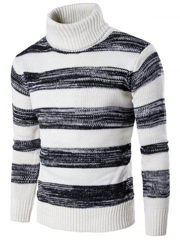 New Roll Neck Knit Blends Ombre Stripe Sweater WHITE 2XL