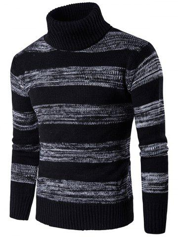 Roll Neck Knit Blends Ombre Stripe Sweater - Black - Xl
