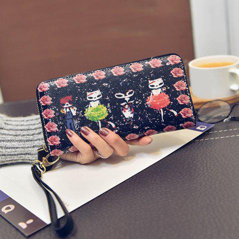 New Flower and Cartoon Printed Wristlet Wallet