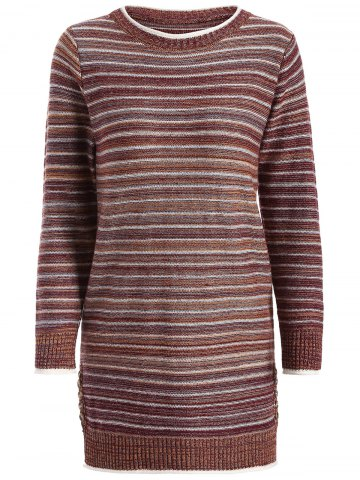 Discount Striped Pullover Long Sweater COFFEE ONE SIZE