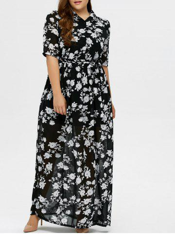 Fancy Plus Size Floral Print Maxi Dress