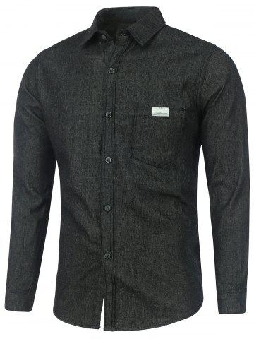 Store Long Sleeve Pocket Washed Denim Shirt