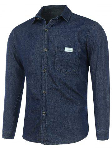 Long Sleeve Pocket Washed Denim Shirt - Deep Blue - M