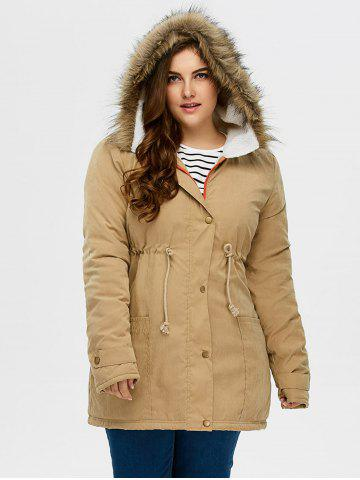 Best Plus Size Drawstring Hooded Parka Coat With Fur Collar
