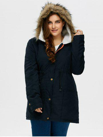 Purplish Blue 4xl Plus Size Drawstring Hooded Parka Coat With Fur ...