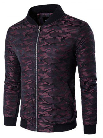 New Stand Collar Zip Up Pocket Camo Padded Jacket