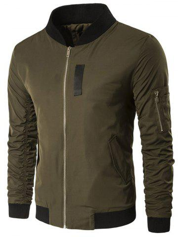 Store Pocket Zippered Ruched Padded Jacket