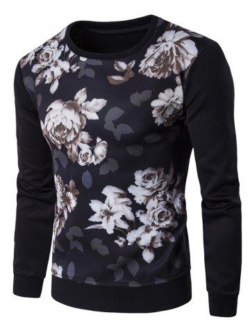 Shops Floral 3D Print Crew Neck Sweatshirt BLACK 2XL