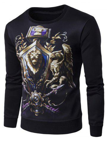 Outfit Crew Neck 3D Printed Pullover Sweatshirt BLACK 2XL