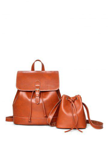 Unique Drawstring PU Leather Backpack With Crossbody Bag