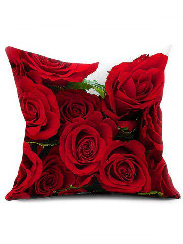 3D Rose Flower Chair Sofa Backrest Throw Pillow Cover - Red - 80*100cm