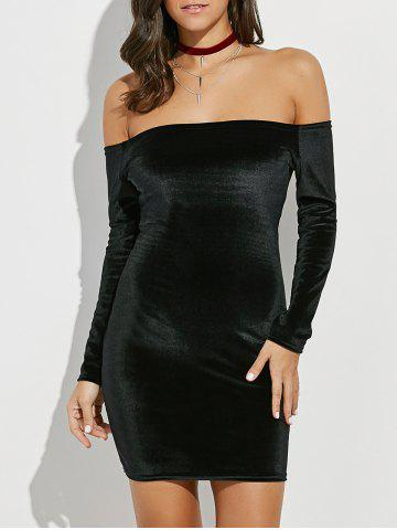 Backlesss Off The Shoulder Long Sleeve Short Velvet Bodycon Dress - Black - L