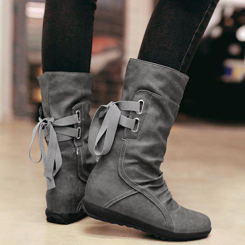 Affordable Hidden Wedge Mid Calf Boots