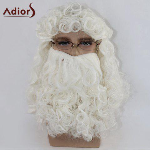 Discount Adiors Christmas Party Santa Claus Beard and Wig Set - WHITE  Mobile