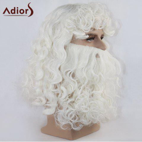 Affordable Adiors Christmas Party Santa Claus Beard and Wig Set - WHITE  Mobile