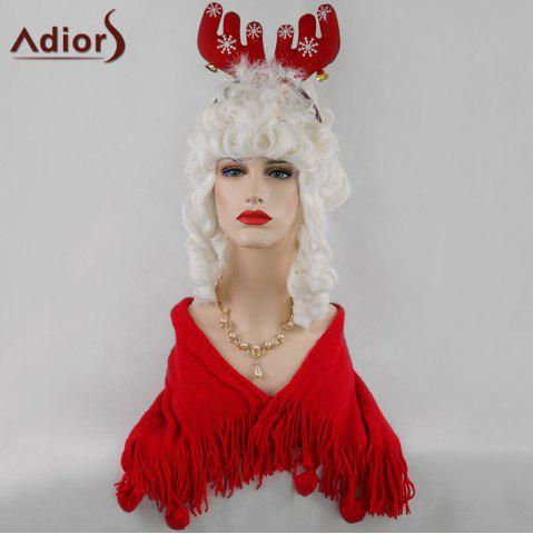 Online Adiors Long Full Bang Curly Christmas Party Santa Claus Cosplay Wig - WHITE  Mobile