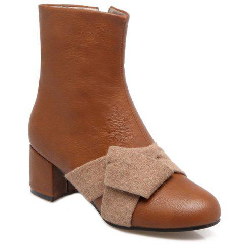 Shops Chunky Heel Woolen Panel Short Boots