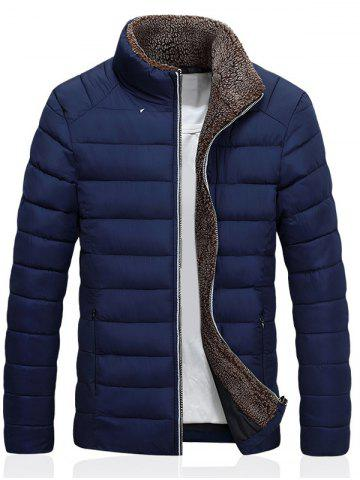 Chic Stand Collar Zip Up Quilted Jacket