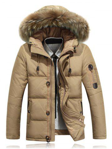 Zipper Up Quilted Jacket with Fur Trim Hood - Khaki - M