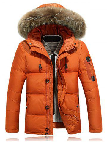 Zipper Up Quilted Jacket with Fur Trim Hood - Jacinth - M