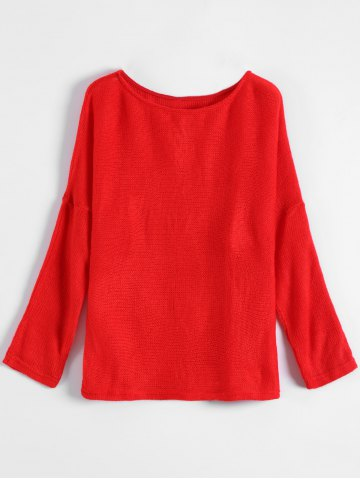 Outfit Slash Neck Plain Sweater RED M
