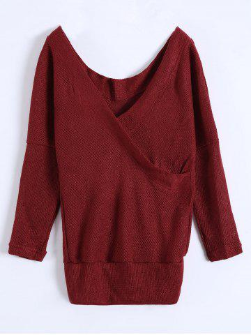 Outfits Deep V Neck Sweater BURGUNDY L