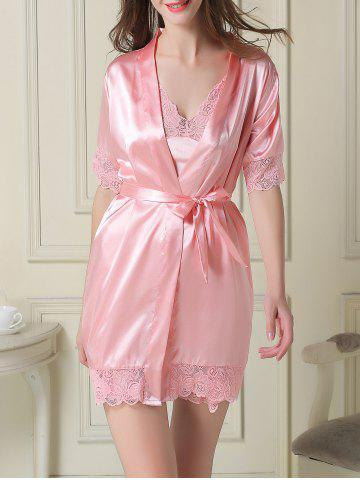 Chic Satin Slip Dress and Robe