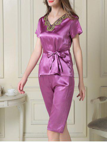 Chic Embroidered Satin Two Piece Summer Pajamas Set