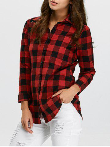 Affordable Button Up Plaid Flannel Shirt RED XL