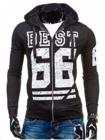 Buy Number Print Drawstring Zip Up Hoodie